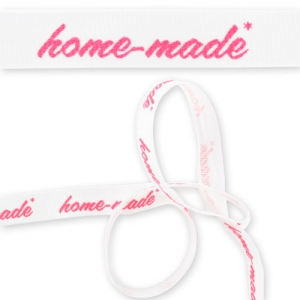 Printed ribbon 12mm Home-made white/neon pink x2m