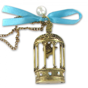 Bird cage pendant and chain 56mm Old gold tone x1