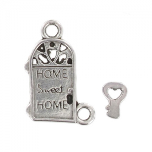 charm House + key 18mm Old Silver tone x1