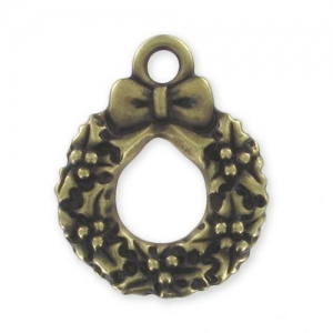 Christmas Wreath charm 20mm Bronze tone x1