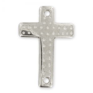 spacer cross 2 holes 40x30mm Old Silver tone x1