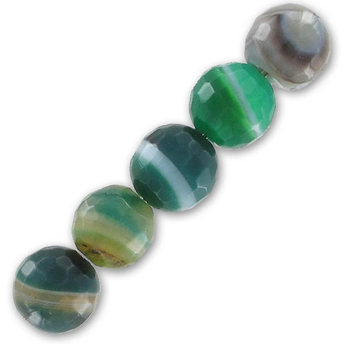 Faceted Green Lace Agate 8mm x10 - Perles & Co