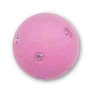 Round Polaris bead with rhinestones 12mm Antique Pink x1
