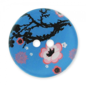 Decorated Button 28mm Cherrytree  Blue / Pink x1