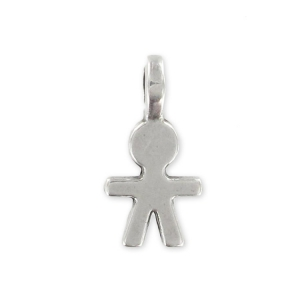 Boy charm 15mm Old silver tone x1