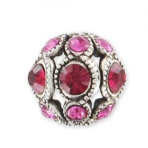 Old Silver filigreed round bead 8mm Ruby/Rose x1