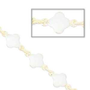 Chain with enameled flowers 6.6mm white gold tone x 50cm
