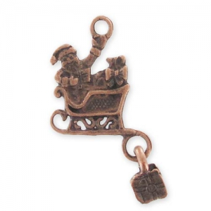 Sleigh Charm 28mm Old Copper tone x1