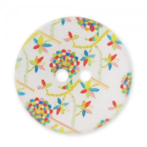 Decorated Button 28mm Flowers White/Multicolor x1