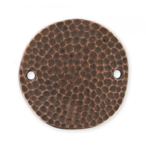 Hammered spacer round 2 holes 25mm Old Copper tone x1