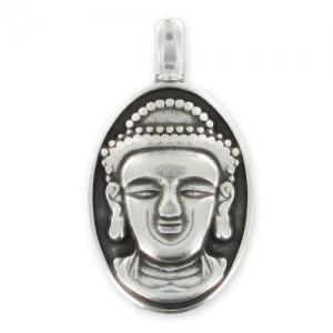 Buddha head pendant 32mm Old Silver tone x1