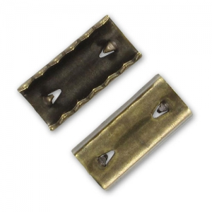 Crimp-end for ribbon 12x8mm Bronze tone x4