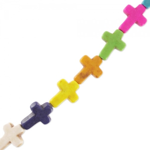 Cross assortment in synthetic Howlite 16 mm Multicolored