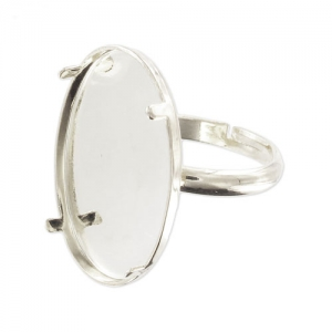 Ring for 25x18mm flat back cab Silver tone x1