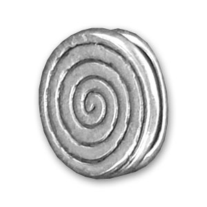 Leather Regaliz spiral slip 14mm Old silver tone x1