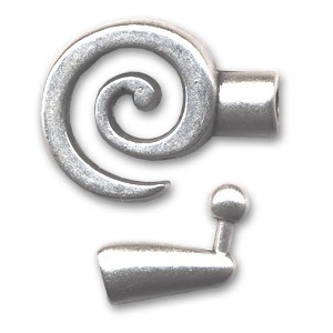 Hook and eye clasp spiral 33x21mm Old silver tone x1