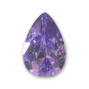Cubic Zirconia pear cabochon  6x4mm Medium Purple