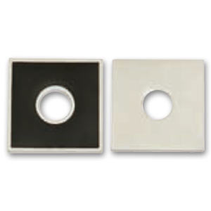 Enameled square 25mm Jet/Silver x1
