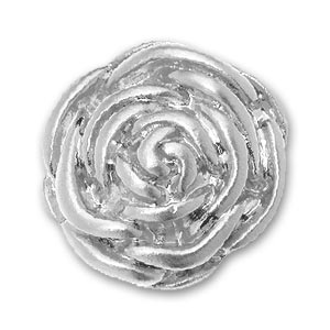 Screw-on rose 20mm Silver tone x1
