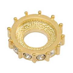 Strass rondel 15mm Gold tone/Crystal x1