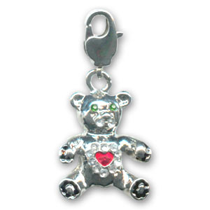 Bear with strass 25mm Crystal/Green x1