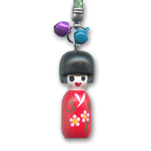 Decorated wooden Kokeshi doll 40mm Red x1