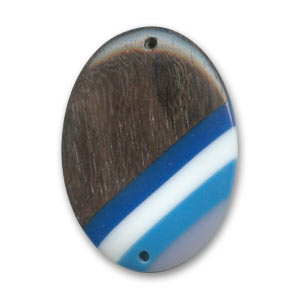 Wooden spacer bead oval 35x25mm Kamahong /Blue x 1