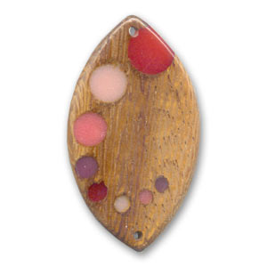Wooden spacer bead oval 40x23mm Robles/Pink x 1