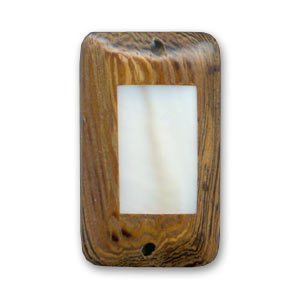 Wooden spacer bead rectangle 26x16mm Robles/Mother-of-Pearlx 1