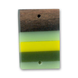 Wooden spacer bead rectangle 27x17mm Kamahong/Green x 1