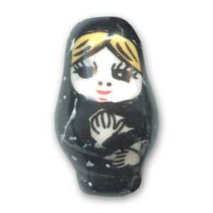 Ceramic Beads Dollfaced 26mm Black x1