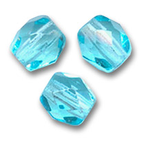 Fire Polished faceted round beads 4mm Aquamarine  x50