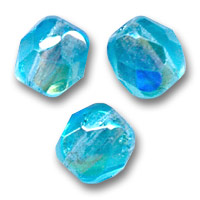Fire Polished faceted round beads 6mm Aquamarine AB x25