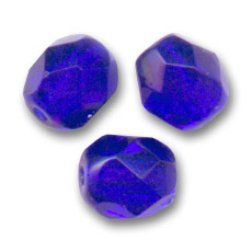 Fire Polished faceted round beads 4mm Cobalt  x50