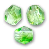 Fire Polished faceted round beads 4mm Crystal Green x50