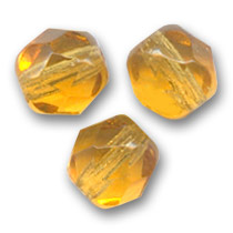 Fire Polished faceted round beads 4mm Topaz  x50