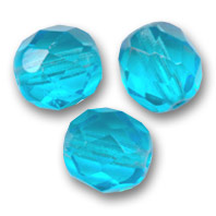 Fire Polished faceted round beads 8mm Aquamarine  x20