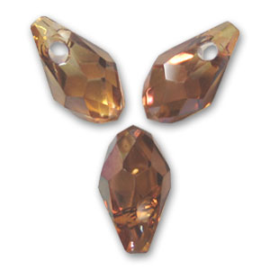 Swarovski Small Briolette drops 6007 7x4mm Crystal Copper x8