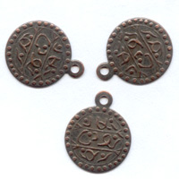 Coin-shaped charms Copper tone 12mm x10
