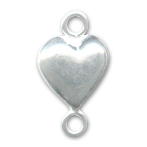 925 Sterling Silver Spacer Heart 2 rings 14x8mm x1