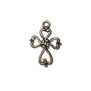 Cross charm 20x14mm Bronze tone x1