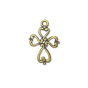 Cross charm 20x14mm Old gold tone x1