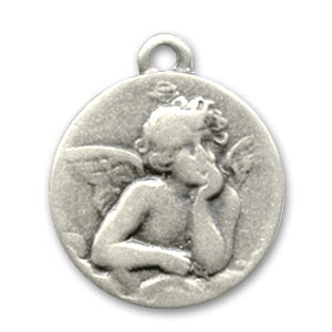 Round charm Angel 20mm Old silver tone x1