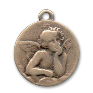 Round charm Angel 20mm Old copper tone x1