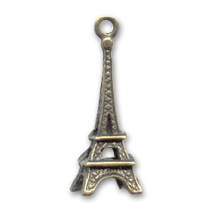 Tower charm 24mm Bronze tone x1