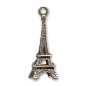 Tower charm 24mm Old copper-tone x1