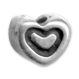 Hearts 5mm Old silver tone x8