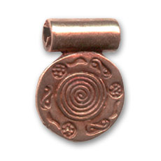 Round pendant 16mm copper tone x1