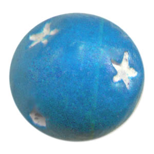 Clay round Star motif 15mm Blue x1