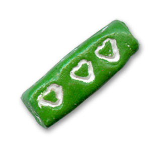 Clay tube Hearts motif 22x9mm Green x1